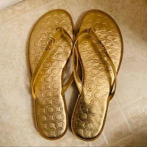 Coach Gold Flip Flops